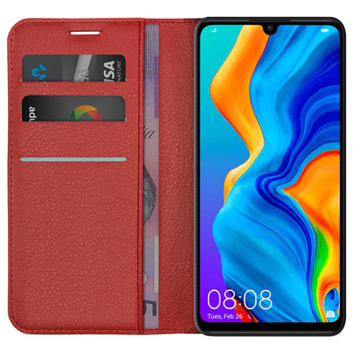 Leather Wallet Case & Card Holder Pouch for Huawei P30 Lite - Red